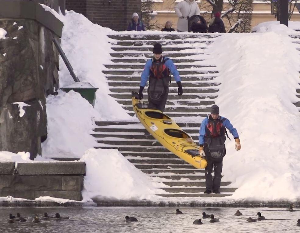 Winterkayakken in Stockholm